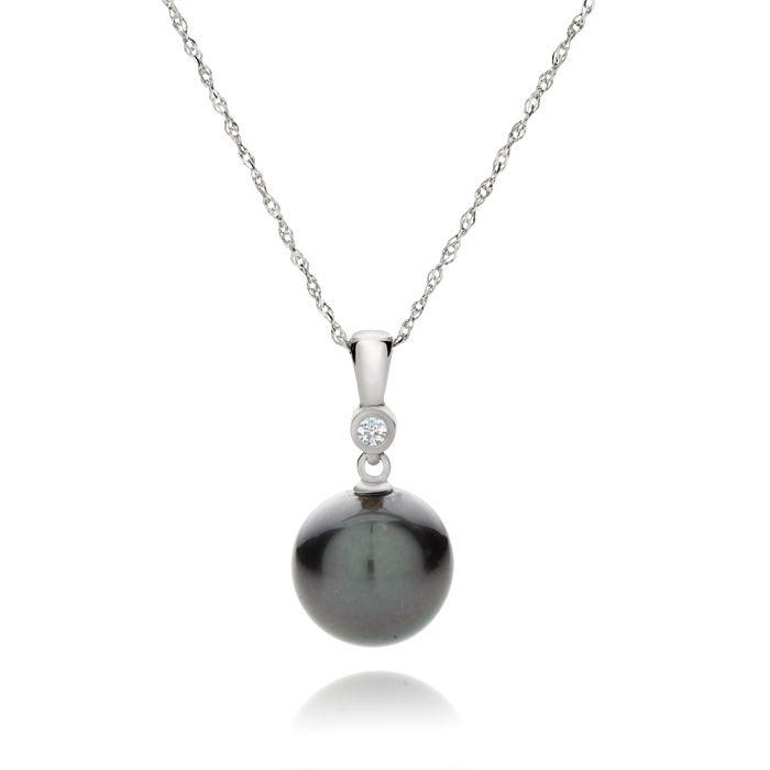 10328e2d3a51 Colgante de Perla Negra de Tahití y Diamante en Oro Blanco 14k I m in love