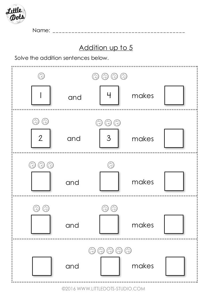 Free Addition Worksheet Suitable For Kindergarten Or Grade 1 Level