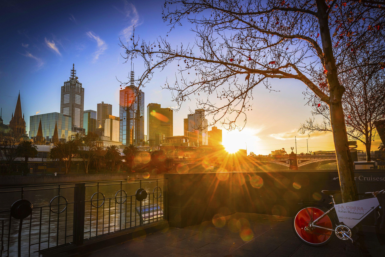 city skyline Travel Decor sunset photo gift for extra large canvas Huge Wall Art Australia photography office decor Melbourne Print