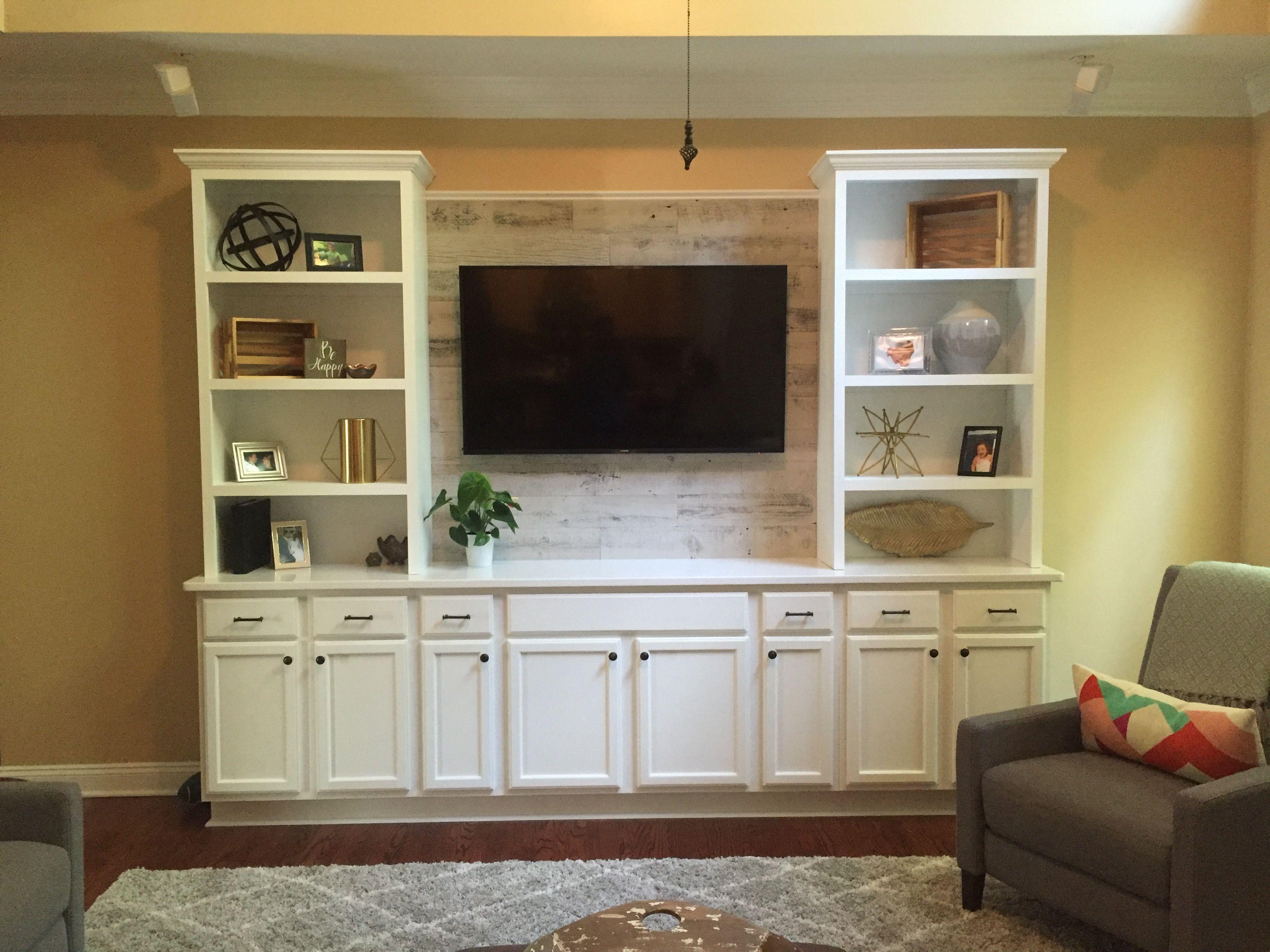 Custom Built Entertainment Center with Quartz Countertop and ...