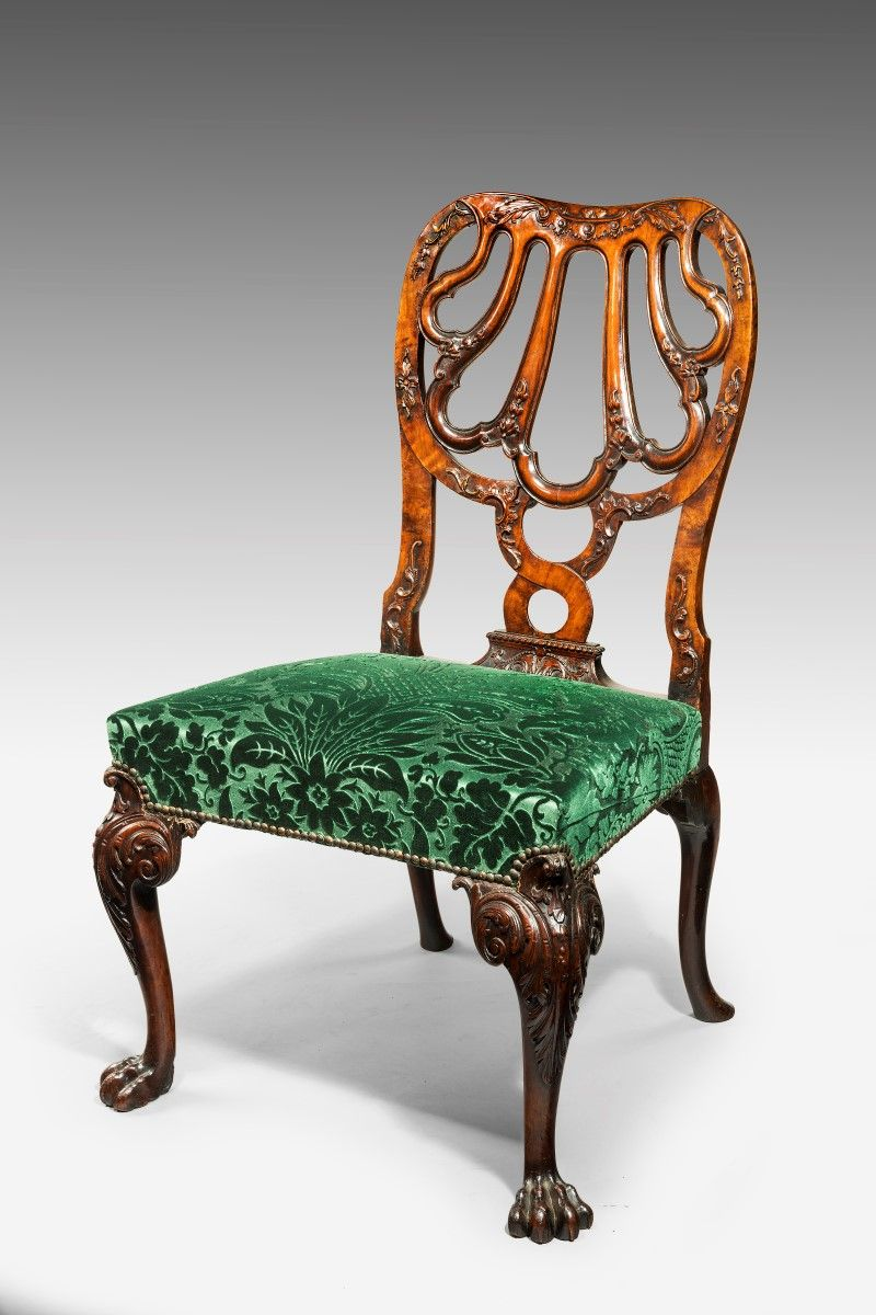 6462 A Near Pair Of Walnut Rococo Single Chairs Attributed To Giles Grendey