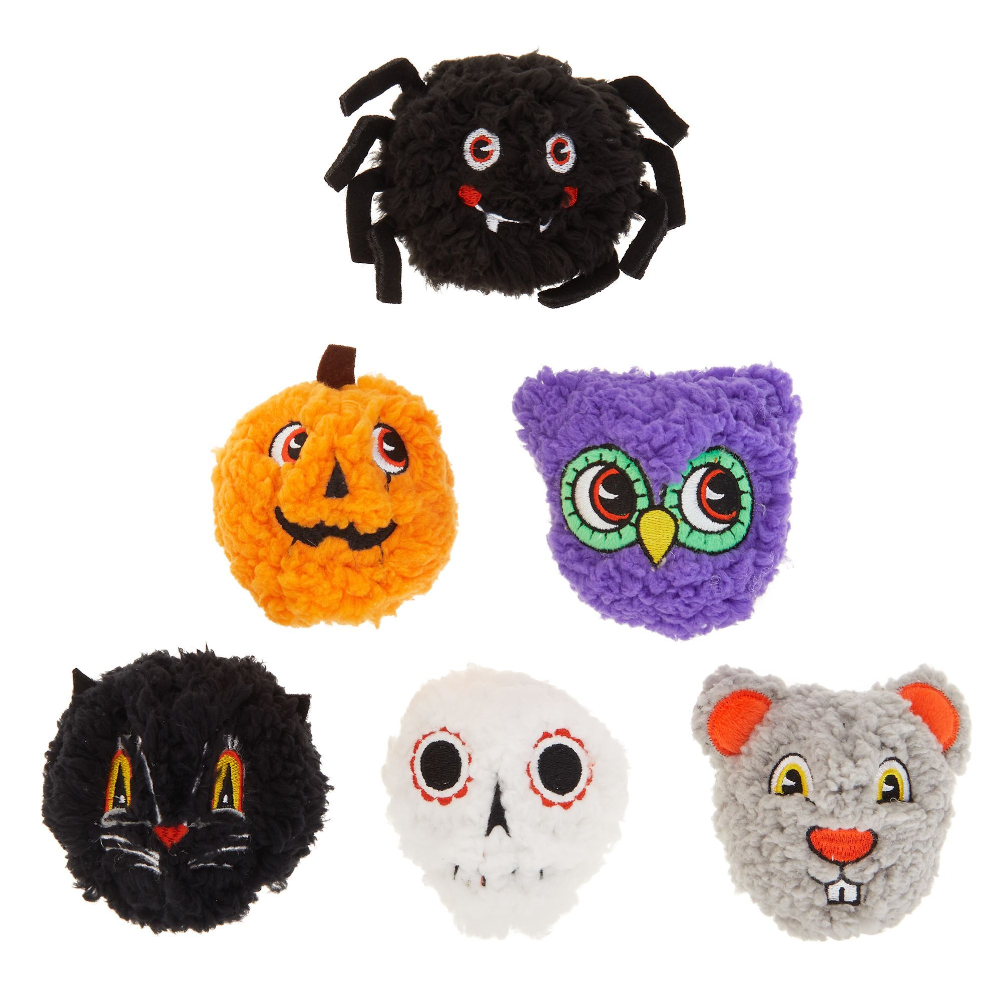Thrills And Chills Halloween Spooky Head Dog Toy Balls 6 Pack