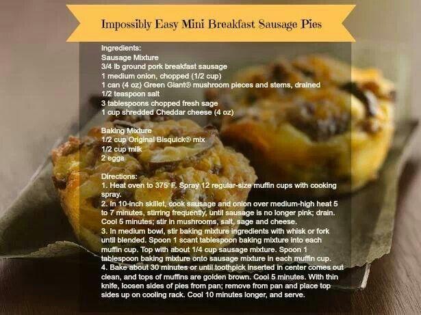 Easy breakfast mini sausage pies