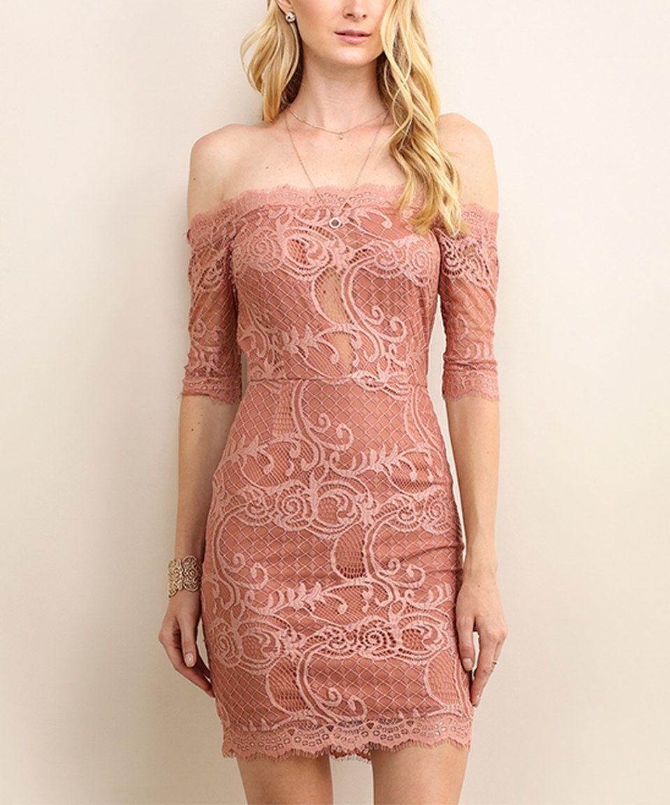 738e5bd295cb2 This Soiéblu Dusty Rose Floral-Lace Off-Shoulder Dress by Soiéblu is  perfect! #zulilyfinds