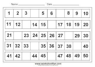 missing numbers 1-50 | Missing Numbers | Pinterest