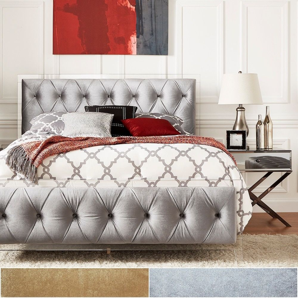 Anya Queen-size Velvet Button Tufted Acrylic Headboard and Bed by INSPIRE Q