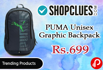 Shopclues #Trending #Products is offering 56% off on PUMA Unisex Graphic Backpack at Rs.699 Only. This backpack from PUMA is stylish and well-organised to keep all your essentials in place. Team it with almost anything for a laid-back casual look.   http://www.paisebachaoindia.com/puma-unisex-graphic-backpack-at-rs-699-only-shopclues/