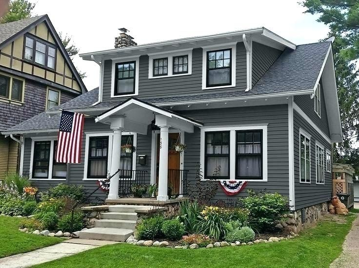 Black and grey house gray house white trim black shutters black windows exterior on black trim - Black house with white trim ...