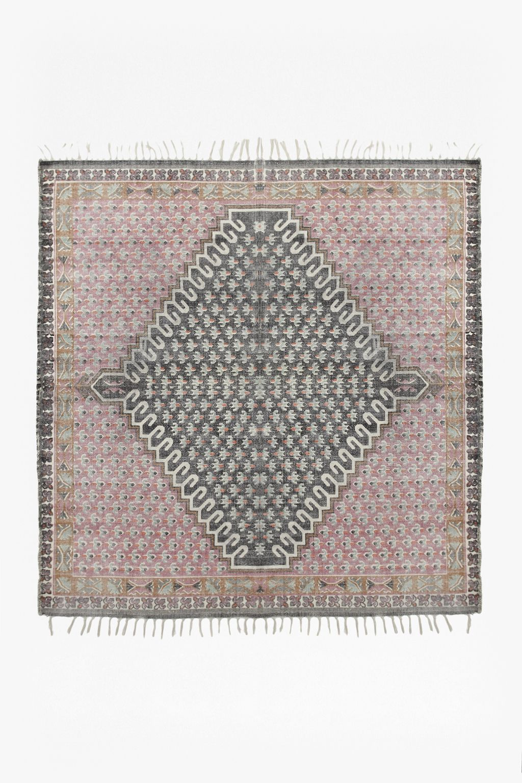 Ul Li Screen Printed Durrie Rug Block Fl Design Tels On Two Sides With Looped Edges Remaining Please Note