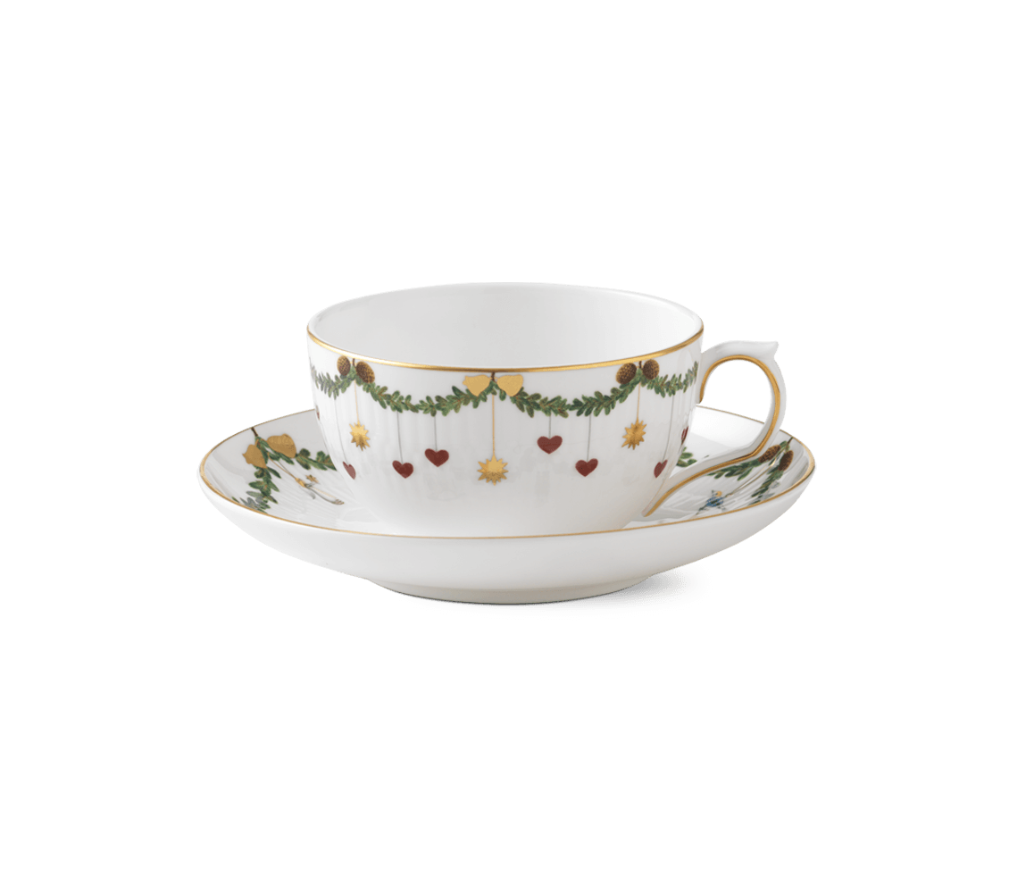 Star Fluted Christmas Cup and saucer