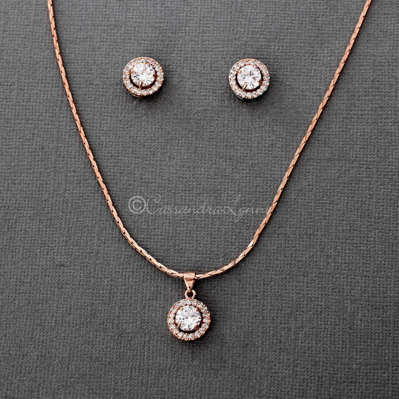 Rose Gold Crystal Halo Necklace Set Wedding Rosegold Diamond Pendant Sets Jewelry Pendant