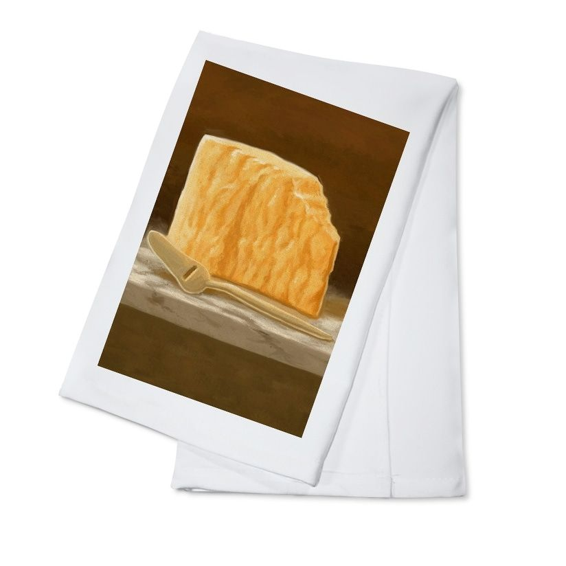 Cheddar Cheese Oil Painting Lantern Press Artwork (100% Cotton Towel Absorbent), Blue wash