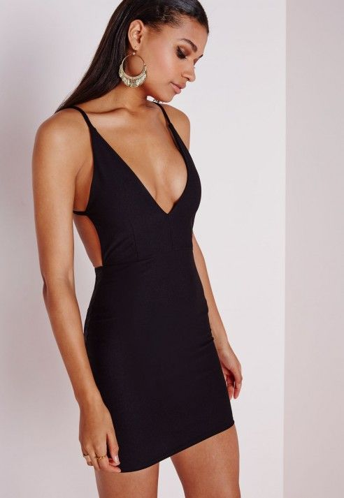 Crepe Extreme Plunge Strappy Bodycon Dress Black - Dresses - Bodycon Dresses - Missguided