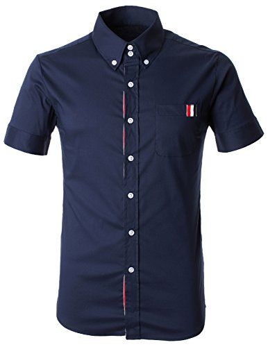 FLATSEVEN Herren Basic Hemd 3 Farbe Gestreift Patches Pocket Kurzarm (SH1001) Navy,  FLATSEVEN http://www.amazon.de/FLATSEVEN-Herren-Gestreift-Patches-Kurzarm/dp/B00L42AV16
