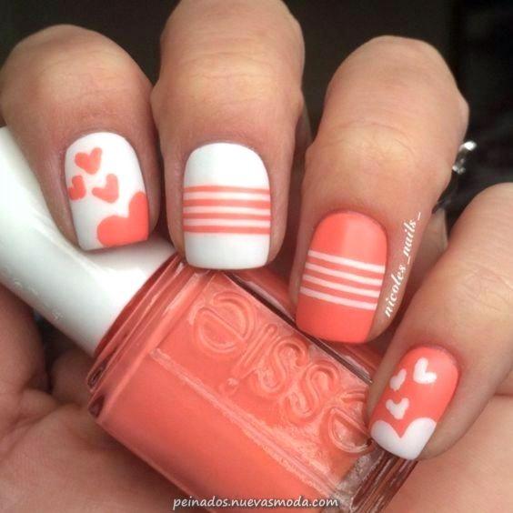 Magico Melocoton Rapido Y Realizable Y Unas Blancas Makeupnails Nail Designs Valentines Valentines Nails Trendy Nails