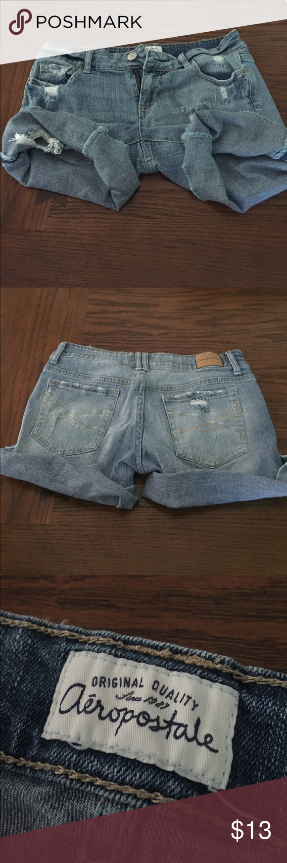 Aeropostale jean shorts. Size 3/4 Jean shorts size 3/4. Normal wear. Light wash. Aeropostale Shorts Jean Shorts