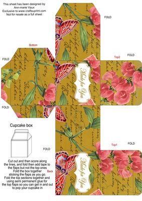 Gold Colour Sweet Peas Single Cupcake Presentation Box on Craftsuprint - Add To Basket!