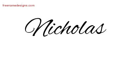 65f481e34e6f2 Cursive Name Tattoo Designs Nicholas Free Graphic – Free Name ...