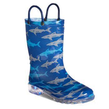 Western Chief Deep Sea Sharks Boys' Light-Up Waterproof Rain Boots