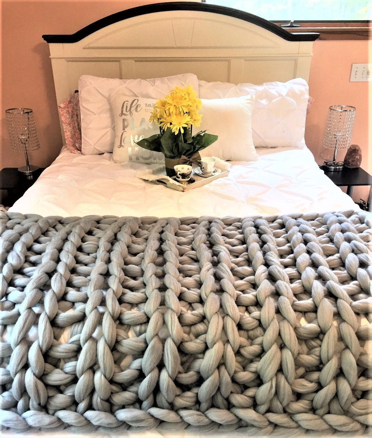 Merino Wool Throw In Ribbing Pattern Perfect Addition To A Queen Size Bedding Knitted Throws Arm Knitting Blanket Chunky Knit Blanket