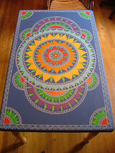 Rainbow Table Beautiful Hands Mandala And Paint Furniture