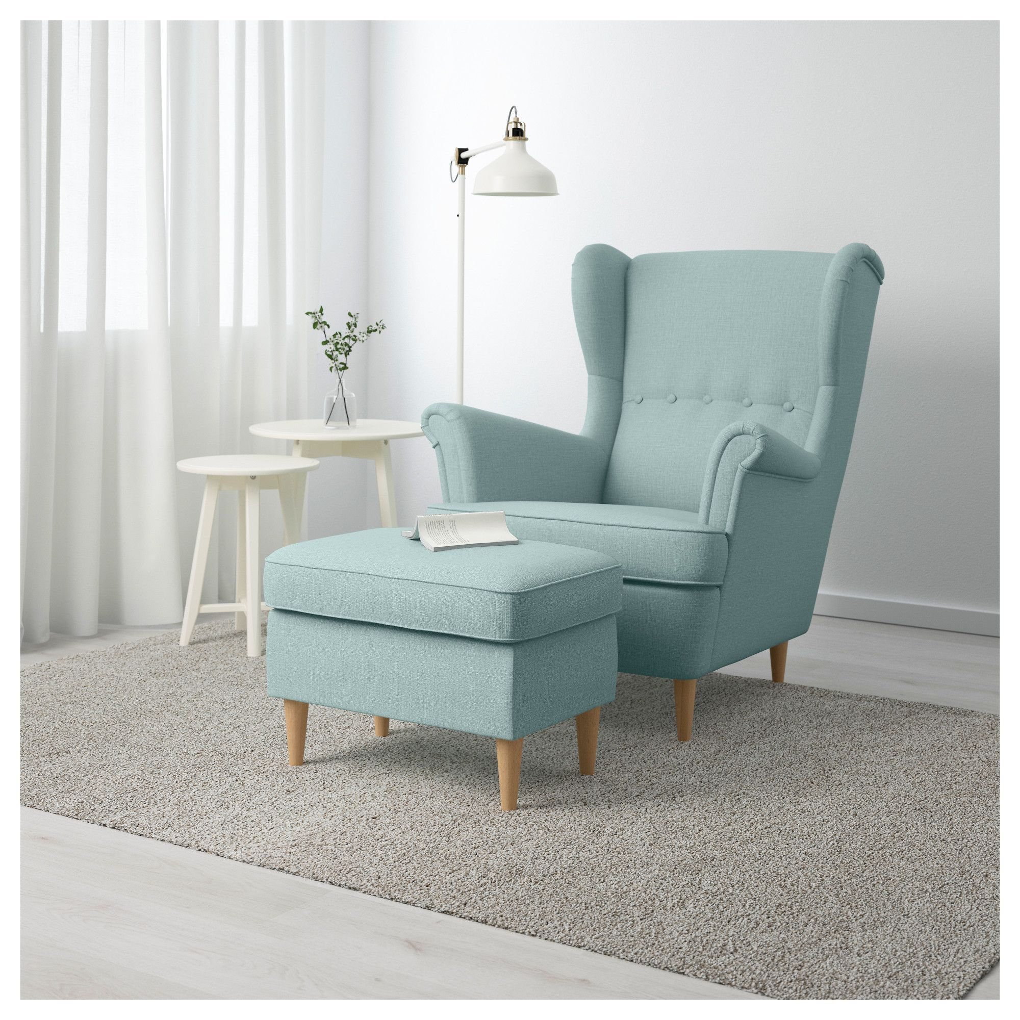 Strandmon Ikea Sofa Strandmon Ottoman Skiftebo Light Turquoise Living