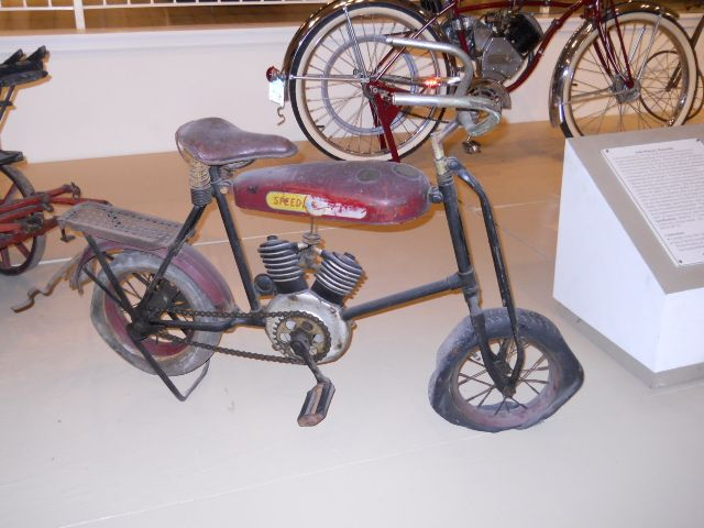 """This picture came from within my video titled """"1946 Whizzer Motor Bike"""" that can be viewed at youtube.com/viewwithme and can now be bought on your favorite items at Cafe Press titled """"Kids Small Motor Bike"""" designed by: Doris Anne Beaulieu"""