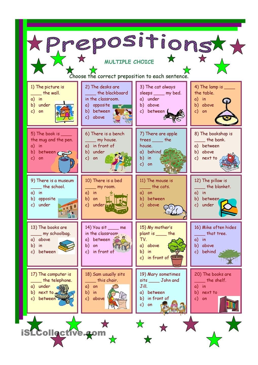 Prepositions of place Preposition worksheets, English