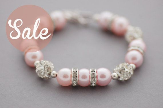 Pink Glass Pearl Bling Bracelet Bridesmaid by CherryBlossomJewels0, £8.00