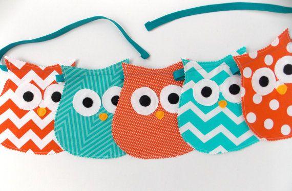 Owl Decor  Nursery  Teal  Orange  Owl Nursery by monichelledesigns, $18.00