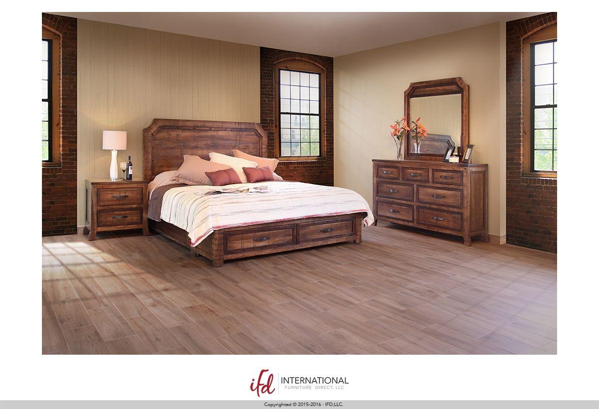 Regal Collection By International Furniture Direct 2010 2069 Set Includes Queen Bedfram Rustic Bedroom Colors Wooden Bedroom Furniture Bedroom Color Schemes