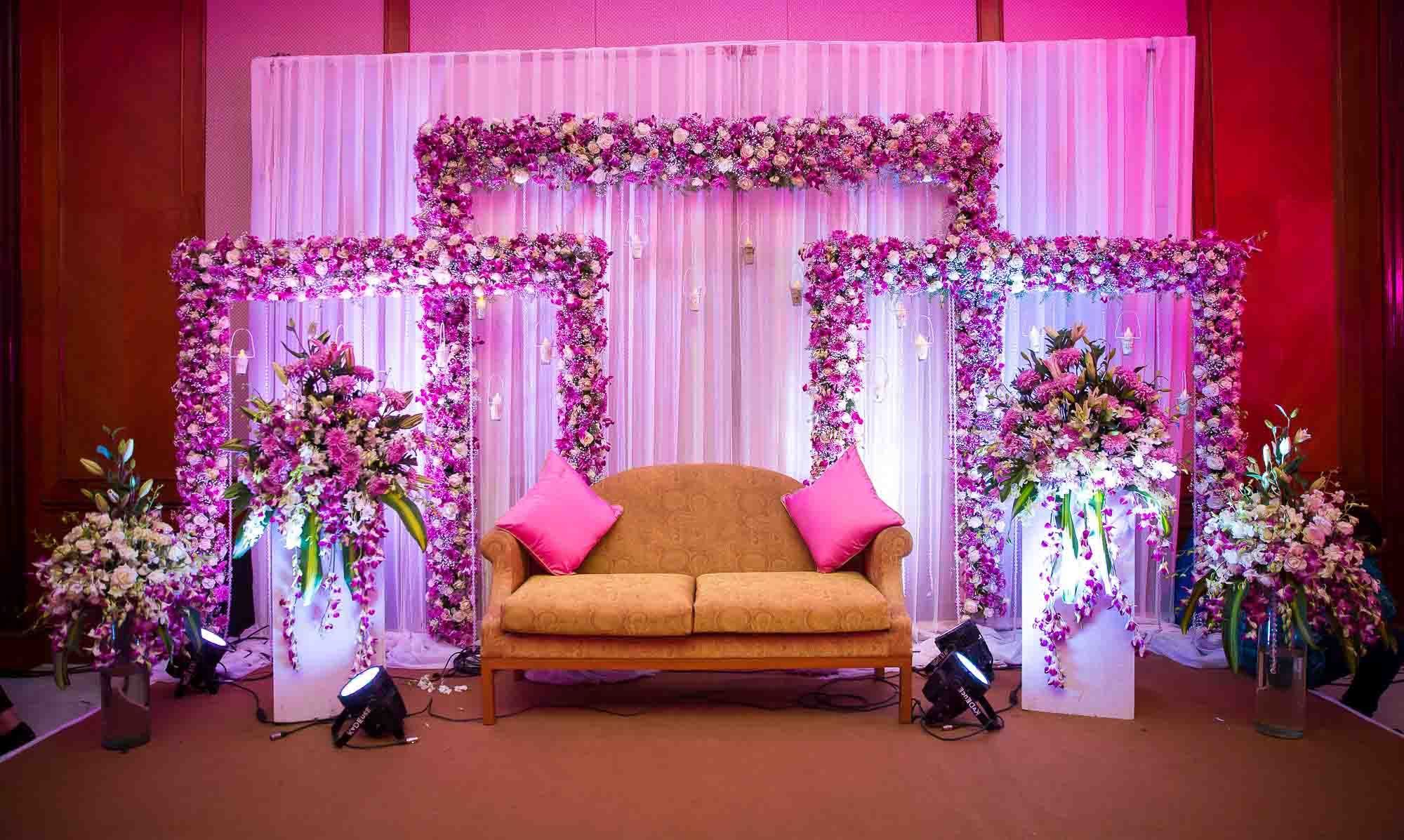 Beautiful backdrop for indoor weddings | Engagement stage decoration,  Wedding stage decorations, Wedding stage design