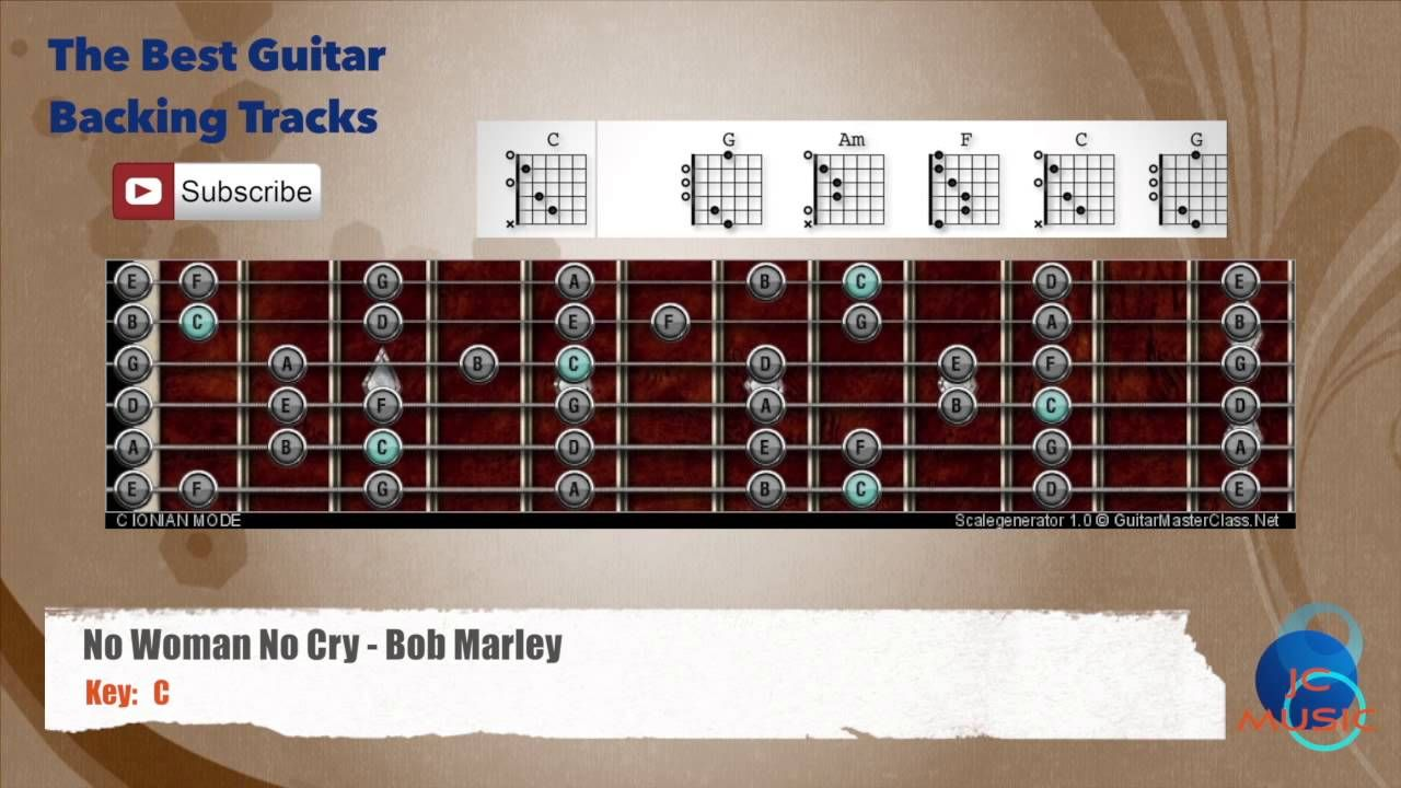 No Woman No Cry Bob Marley Guitar Backing Track With Scale And