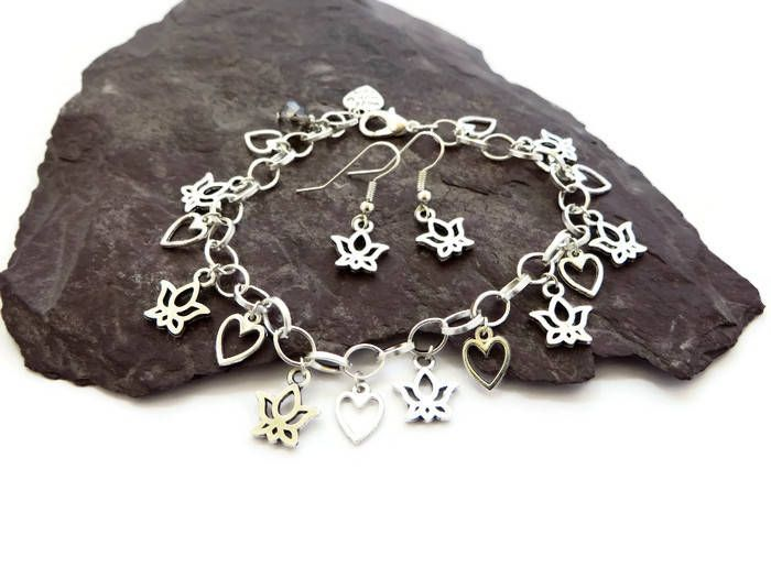 Silver lotus flower jewellery set with charm bracelet and dainty silver lotus flower jewellery set with charm bracelet and dainty drop earrings nature inspired spiritual zen jewelry gift for yoga lovers handmade by mightylinksfo