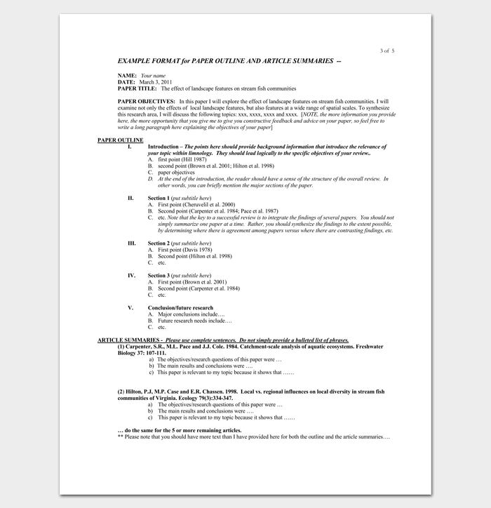 literature review outline examples apa