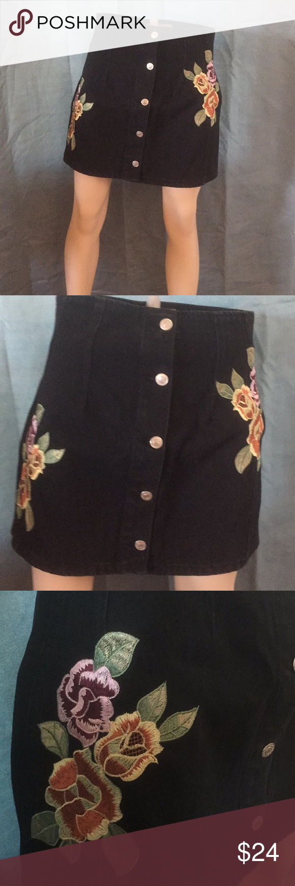 """644b92c6f6 Top Shop Moto black embroidered floral denim skirt Top Shop Moto black  denim floral embroidered skirt. Button down front. 15"""" length & 28"""" waist."""