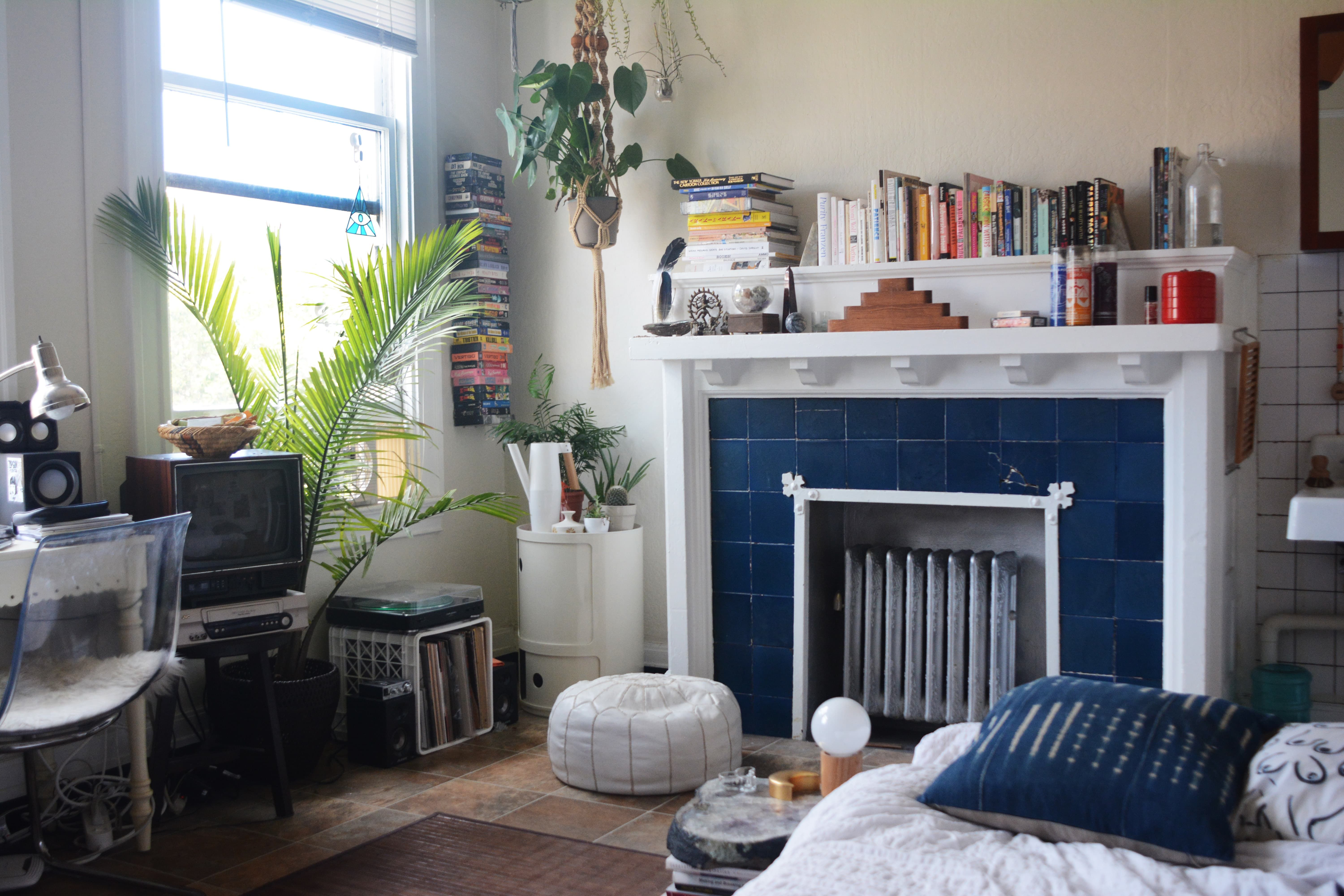 A '70s Inspired, Super Small Space in San Francisco ... on Small Space Small Living Room With Fireplace  id=49731