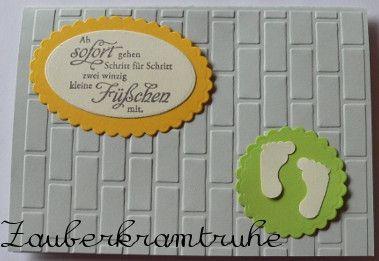 Elegante Karte zur Geburt, Baby, Fuß von Zauberkramtruhe auf DaWanda.com