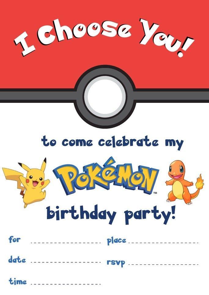 Pokemon Birthday Party Ideas Pokemon Birthday Party Pokemon Invitations Pokemon Birthday