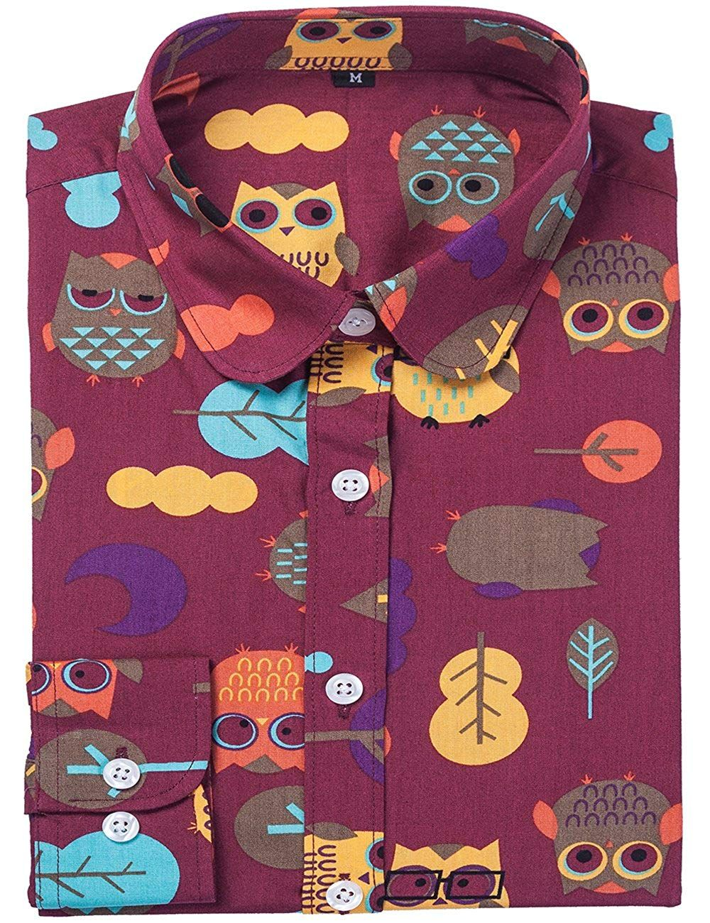 234afb251 DOKKIA Women's Tops Tropical Casual Blouses Long Sleeve Work Button up  Dress Beach Aloha Hawaiian Shirts