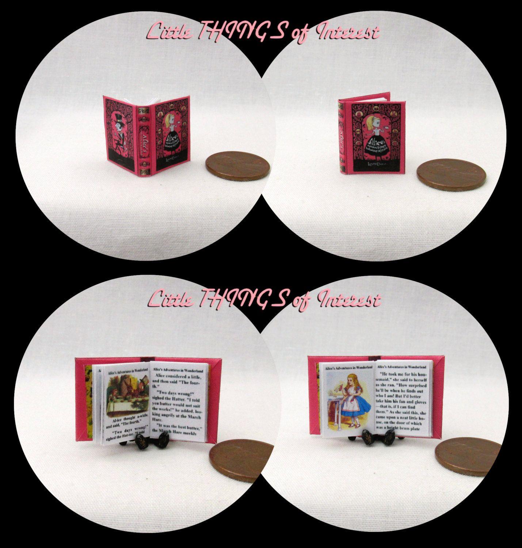 ALICE/'S ADVENTURES IN WONDERLAND Miniature Book 1:12 Scale Illustrated Tenniel