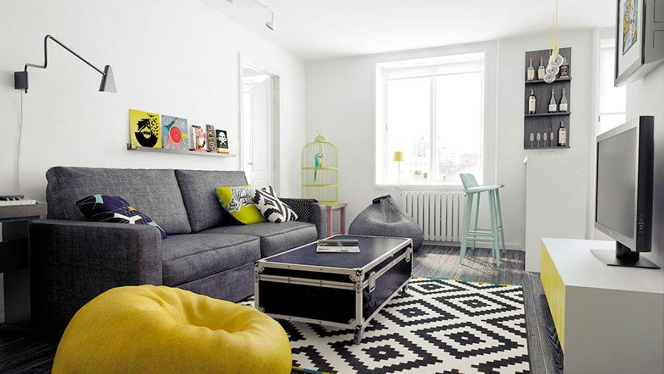 Blanco amarillo gris y negro home tours pinterest for Decoracion de salas en gris y amarillo