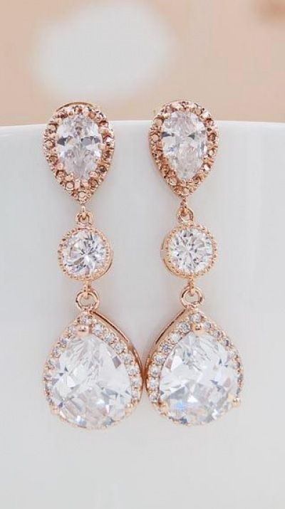 Luxury Rose gold plated Halo Style Cubic Zirconia Bridal Earrings