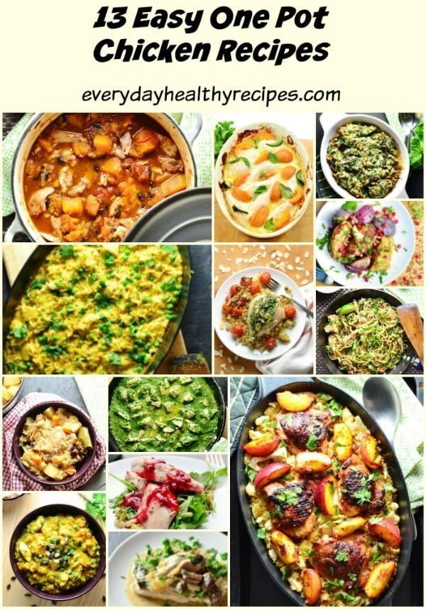 A collection of 13 delicious, easy to make one pot chicken recipes that are nutritious and perfect as family meals or party food ideas.
