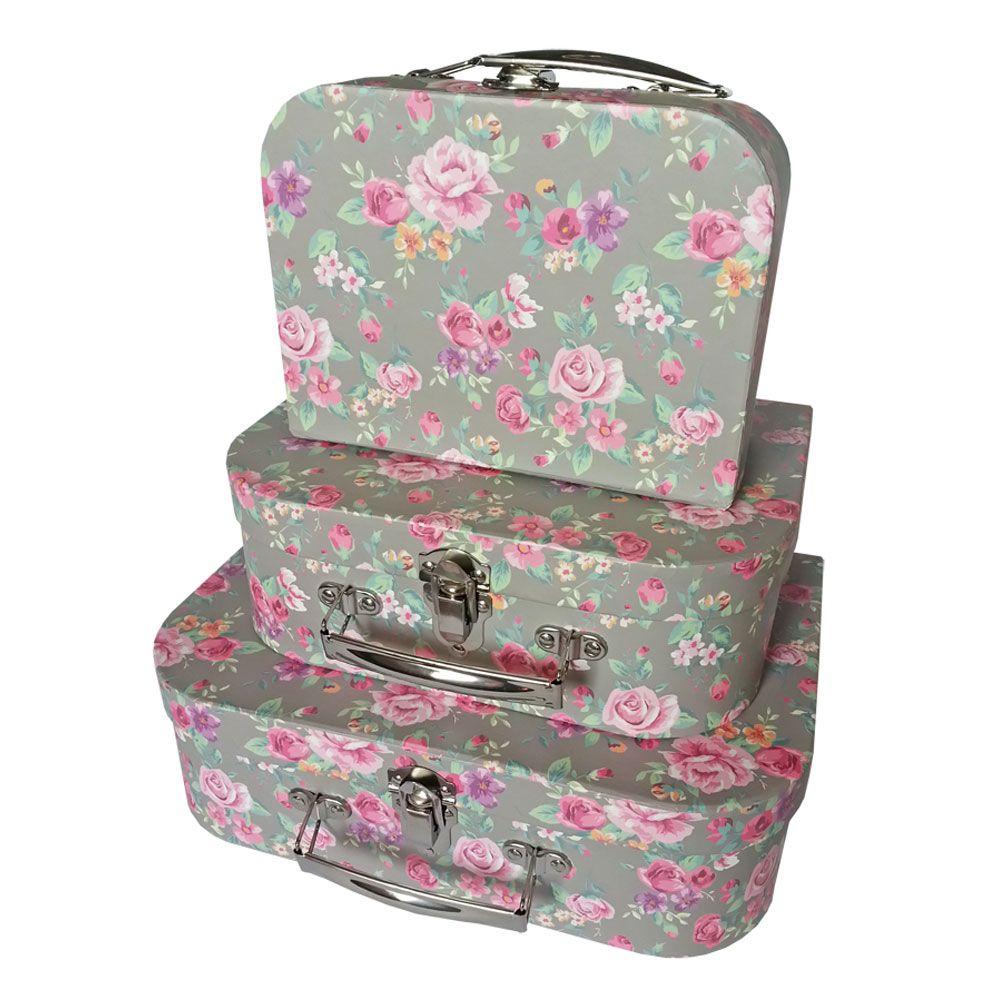Vintage Floral Storage Suitcases - Set Of 3 | Storage Boxes at The Works  sc 1 st  Pinterest & Vintage Floral Storage Suitcases - Set Of 3 | Vintage floral ...