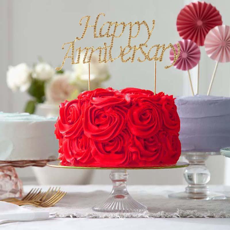 6 Gold Rhinestone Happy Anniversary Cake Topper Happy