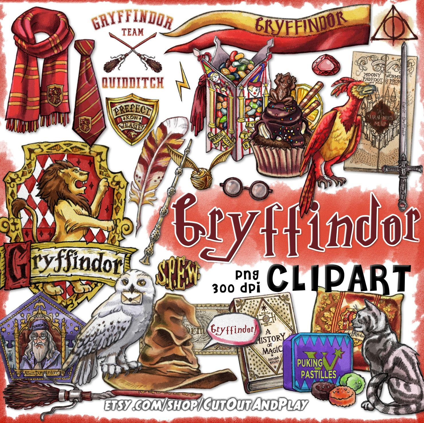 Gryffindor Clipart Harry Potter Clipart Harry Potter Party Hogwarts House Printable Planner