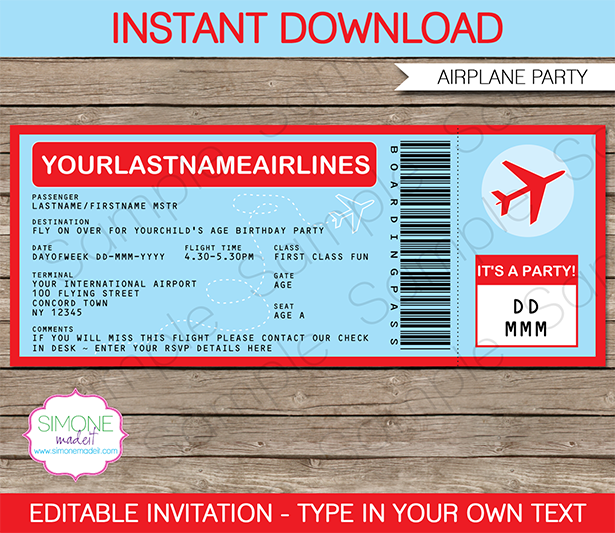 Airplane Ticket Invitations Template – Ticket Invitation Template