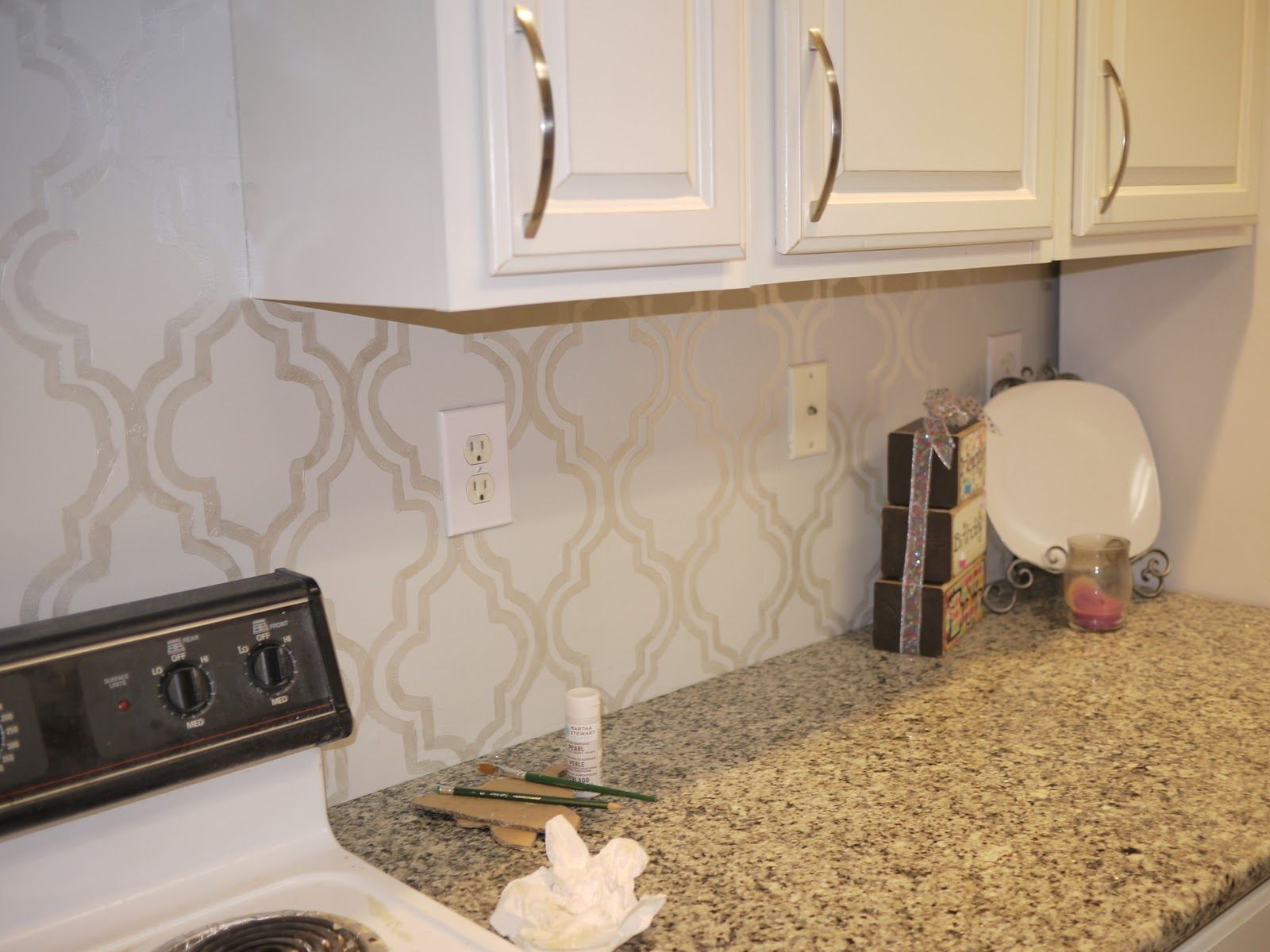 Our Pearlized Stenciled Backsplash Diy Kitchen Backsplash