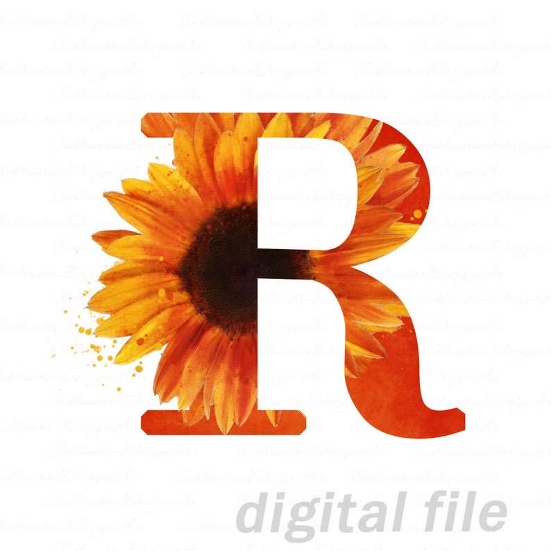 Sunflower Letter R Sublimation Png Alphabet Letters Png Etsy In 2021 Lettering Alphabet Custom Pet Portraits Letter R